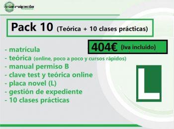 Pack 10 (matrícula+ teórica + gestión expediente+ pack 10 prácticas)