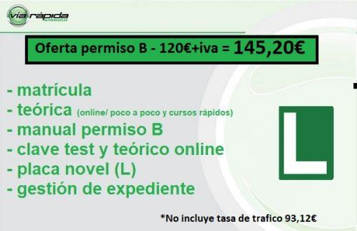Permiso B (matrícula+ teórica + gestión expediente)