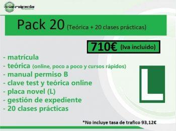 Pack 20 (matrícula+ teórica + gestión expediente+ pack 20 prácticas)